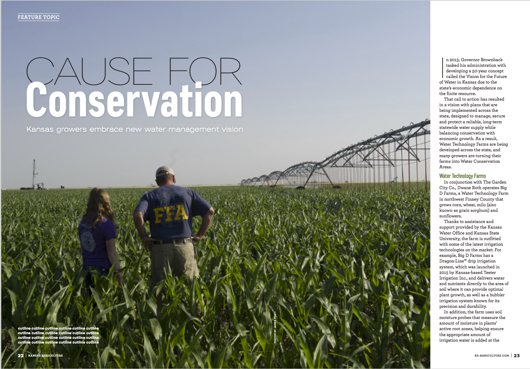 Dwayne Roth and his daughter Grace check out the corn crop on their water technology farm in western Kansas.